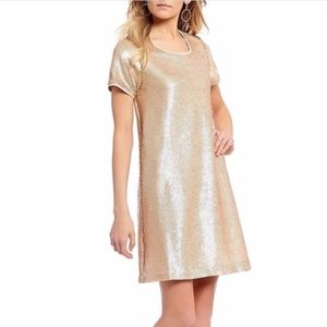 NEW Copper Key | Gold Sequin Homecoming Dress